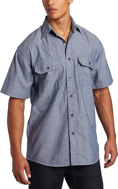 Key Apparel Mens Pre-Washed Blue Chambray Western Snap Short Sleeve Shirt