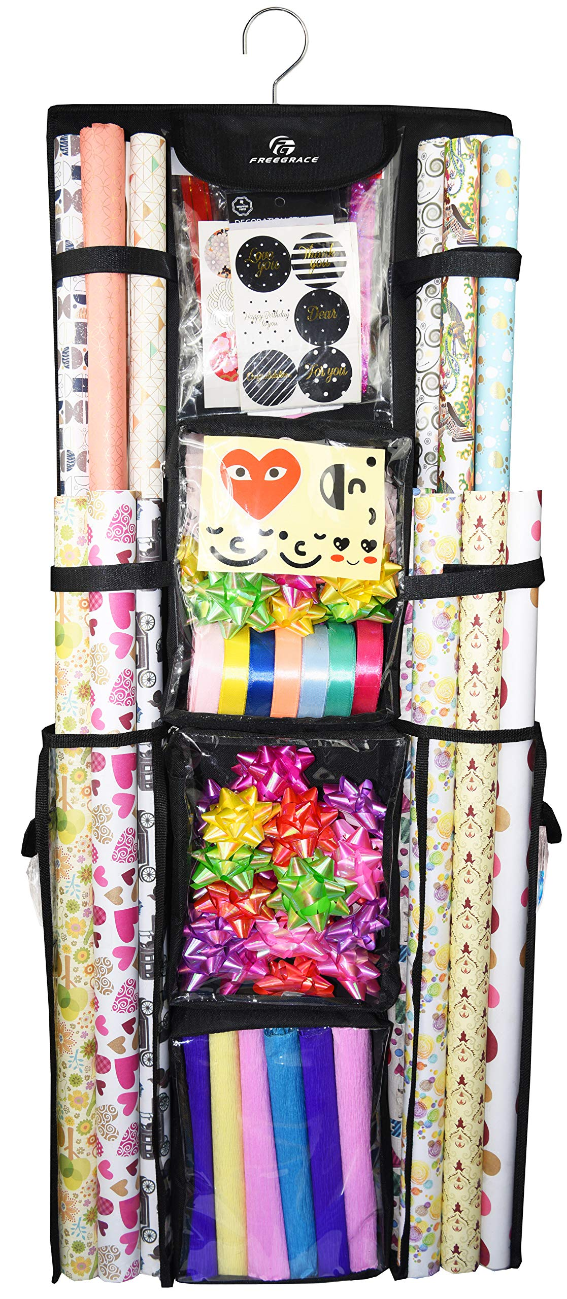 Freegrace Double Sided Hanging Gift Wrap Organizer   Large 16'' x 41'' Wrapping Paper Rolls Storage Bag   Tearproof & Space Saving Closet Gift Bag Organization Solution (Black) by Freegrace