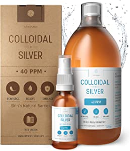 Premium Colloidal Silver 40ppm 34 fl oz ● Optimal Concentration Formula, Smaller Particles, Better Results ● Laboratory Certified ● Liquid Silver Made in EU ● Free Spray Bottle to Fill & Ebook