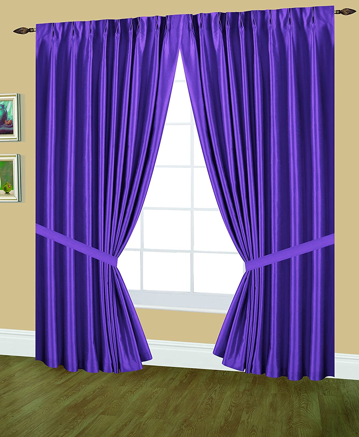 Editex Home Textiles Elaine Lined Pinch Pleated Window Curtain, 96 by 84-Inch, Lilac