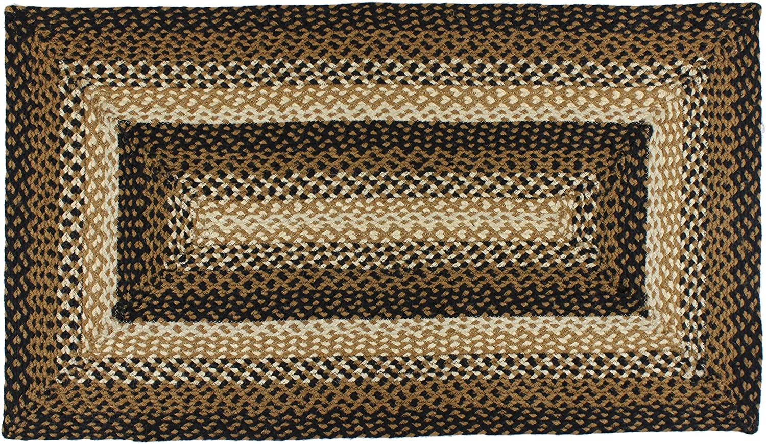 IHF Home Decor Stallion Rectangle Accent Braided Area Rug | Natural Jute Material Handmade Floor Carpet | Black, Mustard, Cream Woven Collection (36