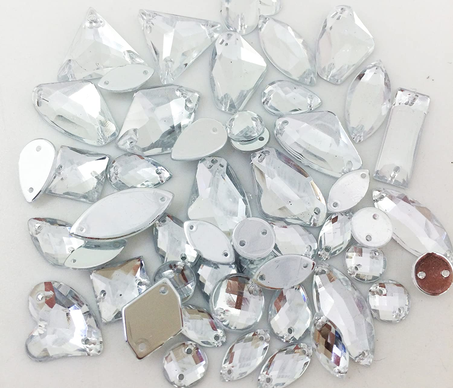 PEPPERLONELY 50PC Clear Sew On Mixed Shape /& Size Flat Back Faceted Acrylic Crystals Rhinstones 7~21mm