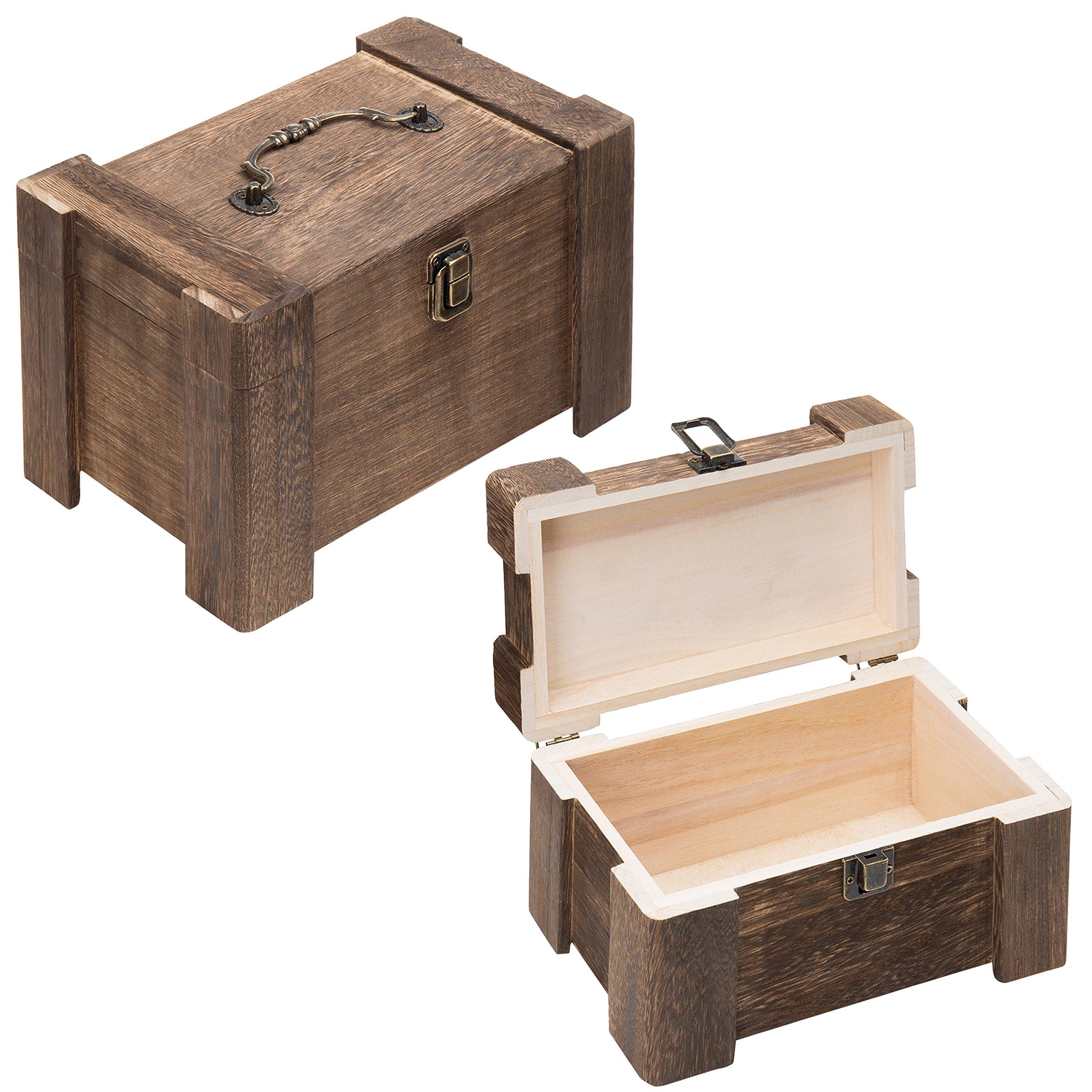 MyGift Decorative Wooden Vintage-Style Keepsake Storage Chests, Set of 2