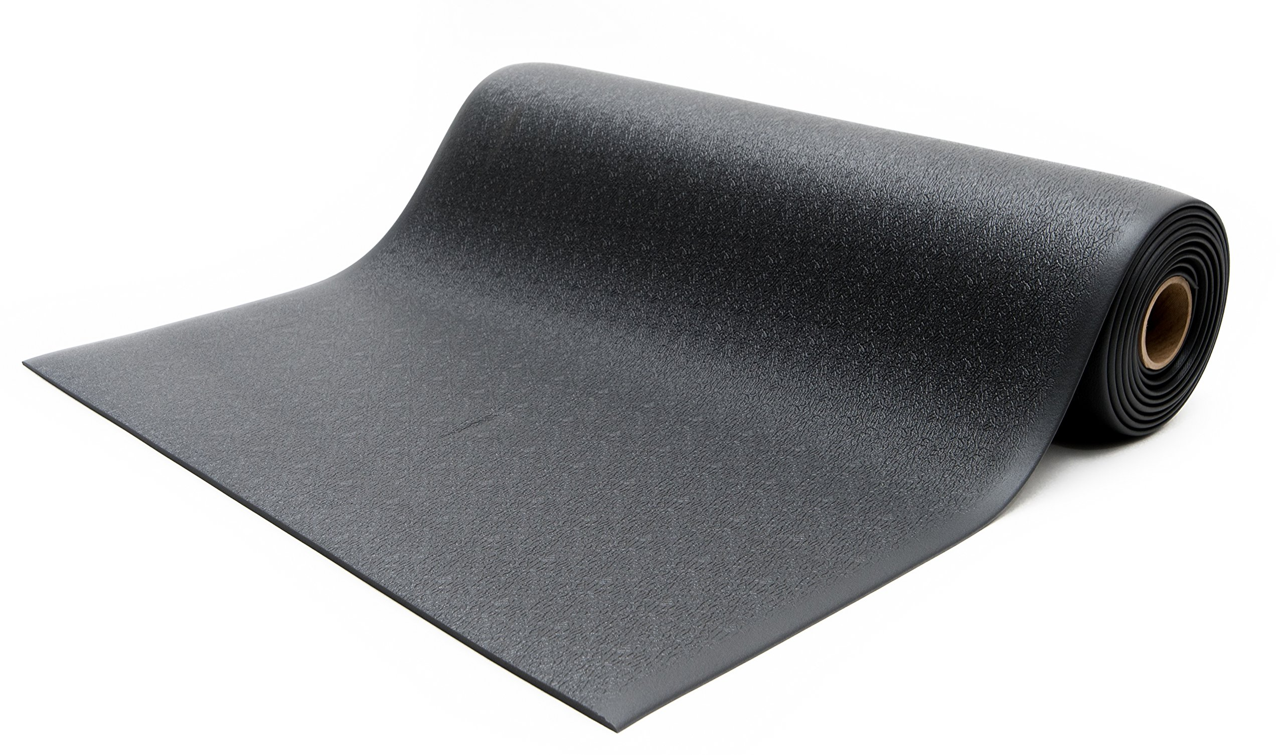 Bertech Anti Fatigue Vinyl Foam Floor Mat, 3' Wide x 15' Long x 3/8'' Thick, Textured Pattern, Black (Made in USA)