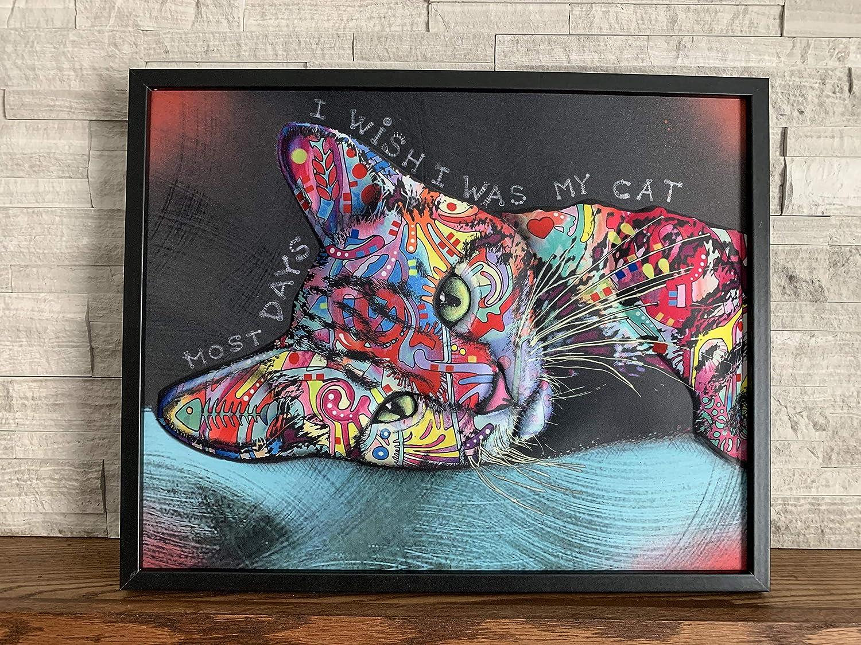 """Ilove Home Decor Framed Wall Art - 3D Cat Decor Wall Print - Abstract Wall Art 16""""x20""""x1.5"""""""