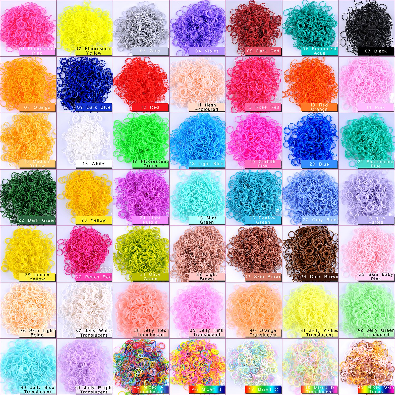Kirinstores (TM) 1800 PCS 72 Clips Bands Refills for Loom Rainbow Bracelet Dress Making (600 Each of 3 Assorted Color) BT0006x03