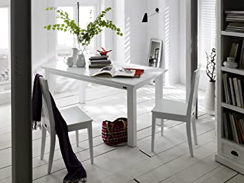 NovaSolo Halifax Pure White Mahogany Wood Extension Dining Table 63 To 79 Inches