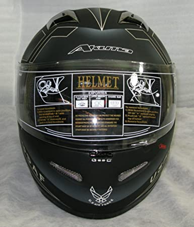 Amazon.com: 3XL AKUMA STEALTH Motorcycle Helmet MATTE BLACK with Built In LED Lights! USAF logo: Automotive