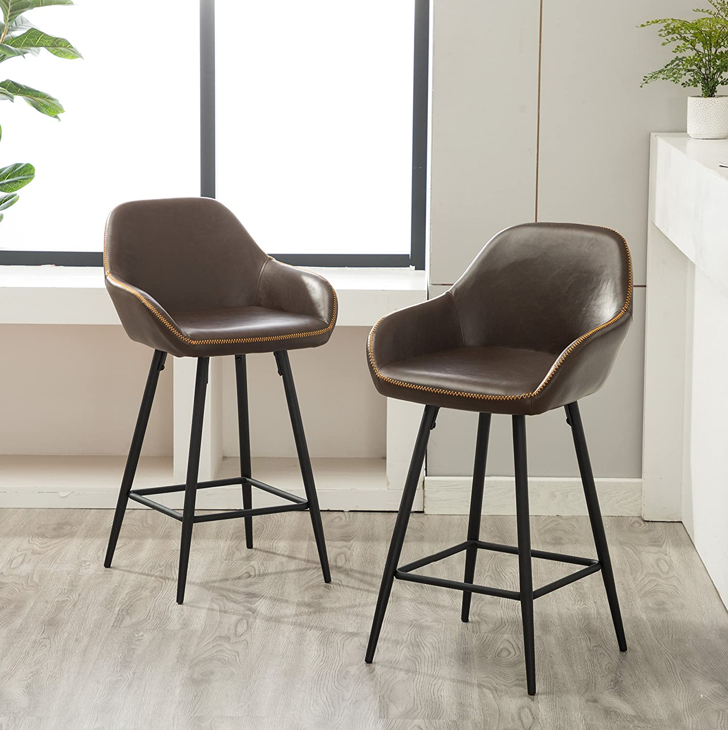 Roundhill Furniture PC281GY Horgen Contemporary Faux Leather Counter Height Dining Chairs, Gray, Set of 2 RH