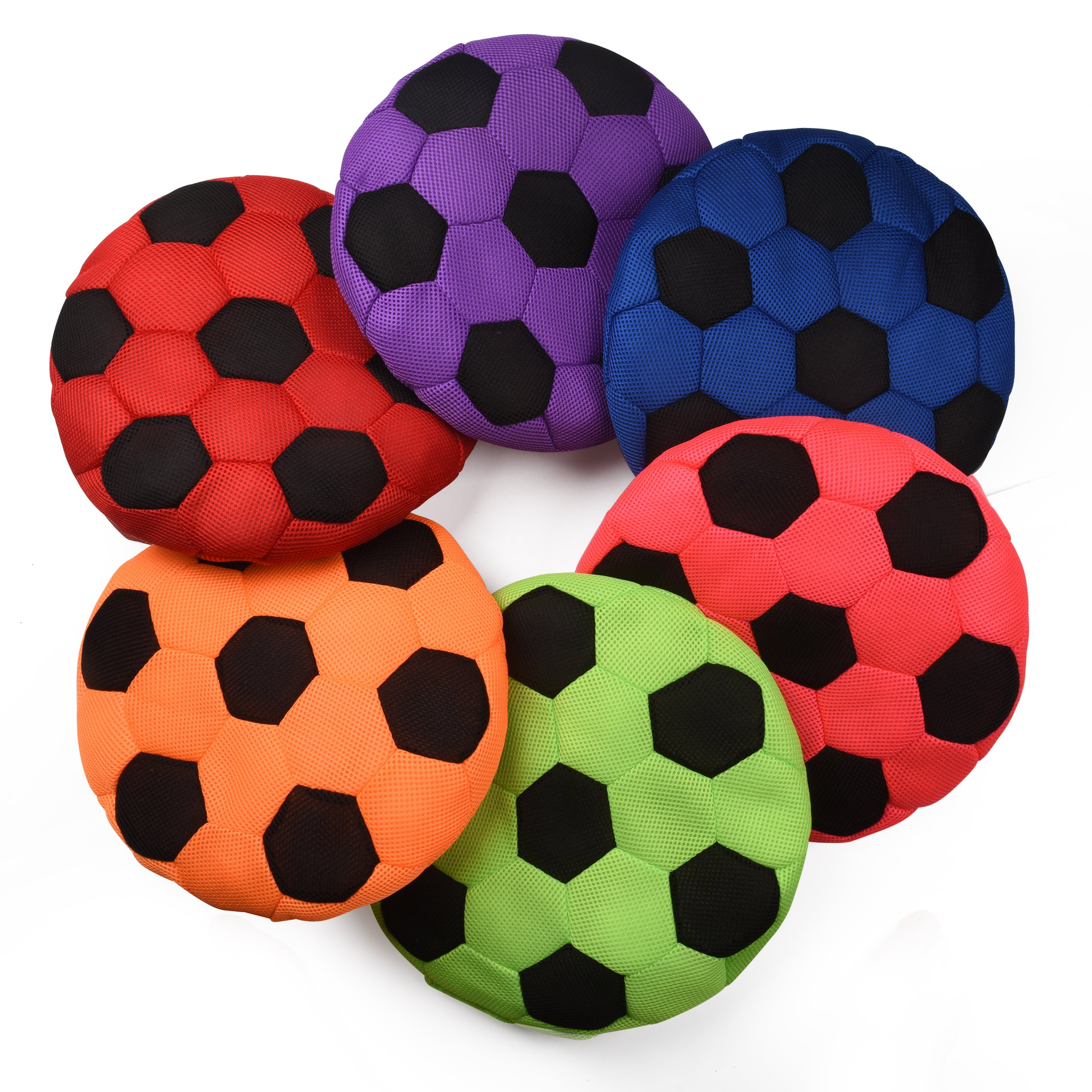 Bintiva Cushioned Spot Markers - Set of 6 Washable Seating Cues in Bright Colors - Large 14'' Diameter