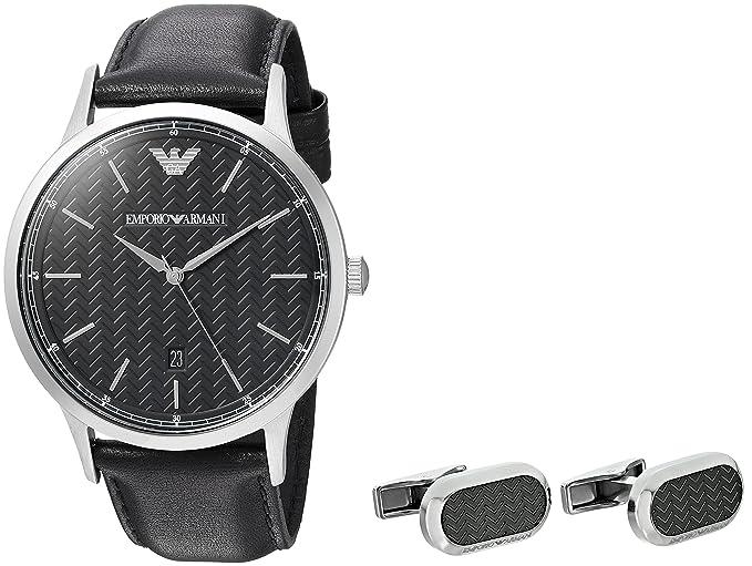 Emporio Armani Hombre ar8035 caja de piel reloj Gemelos: Amazon.es: Relojes