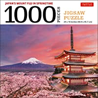 Mount Fuji Japan Jigsaw Puzzle - 1,000 pieces: Snowcapped Mount Fuji and Chureito Pagoda in Springtime (Finished size 24…