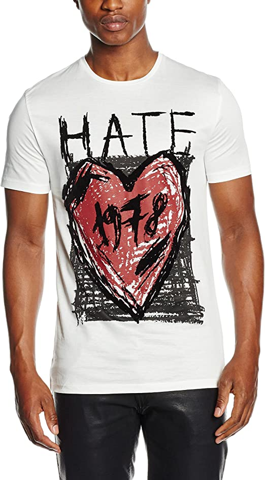 Antony Morato T Shirt Stampa Hate Camisa, Blanco, S para ...