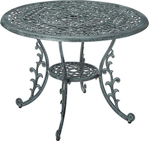 Oakland Living Mississippi Cast Aluminum Dining Table, 42-Inch, Verdi Grey