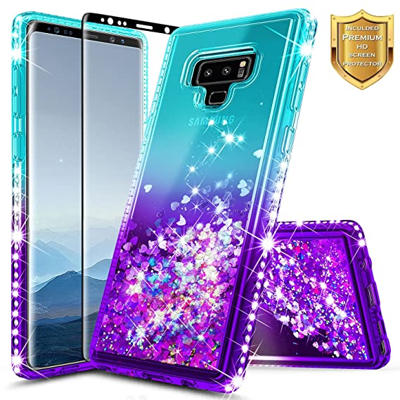 save off fc87f a16a5 Note 9 Case, Galaxy Note 9 Case w/[Full Cover Screen Protector 3D PET],  NageBee Glitter Liquid Quicksand Waterfall Floating Flowing Sparkle Shiny  ...