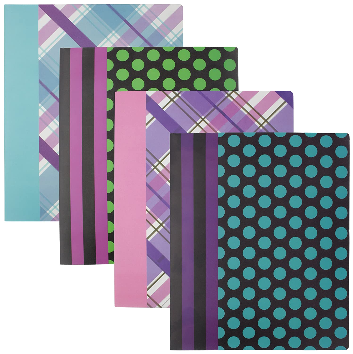 Etc. 4-Pack Emraw Laminated Fashion Plaid /& Dots 2 Pocket Poly File Portfolio Folder Used for Papers Loose-Leafs Compact Discs Business Cards