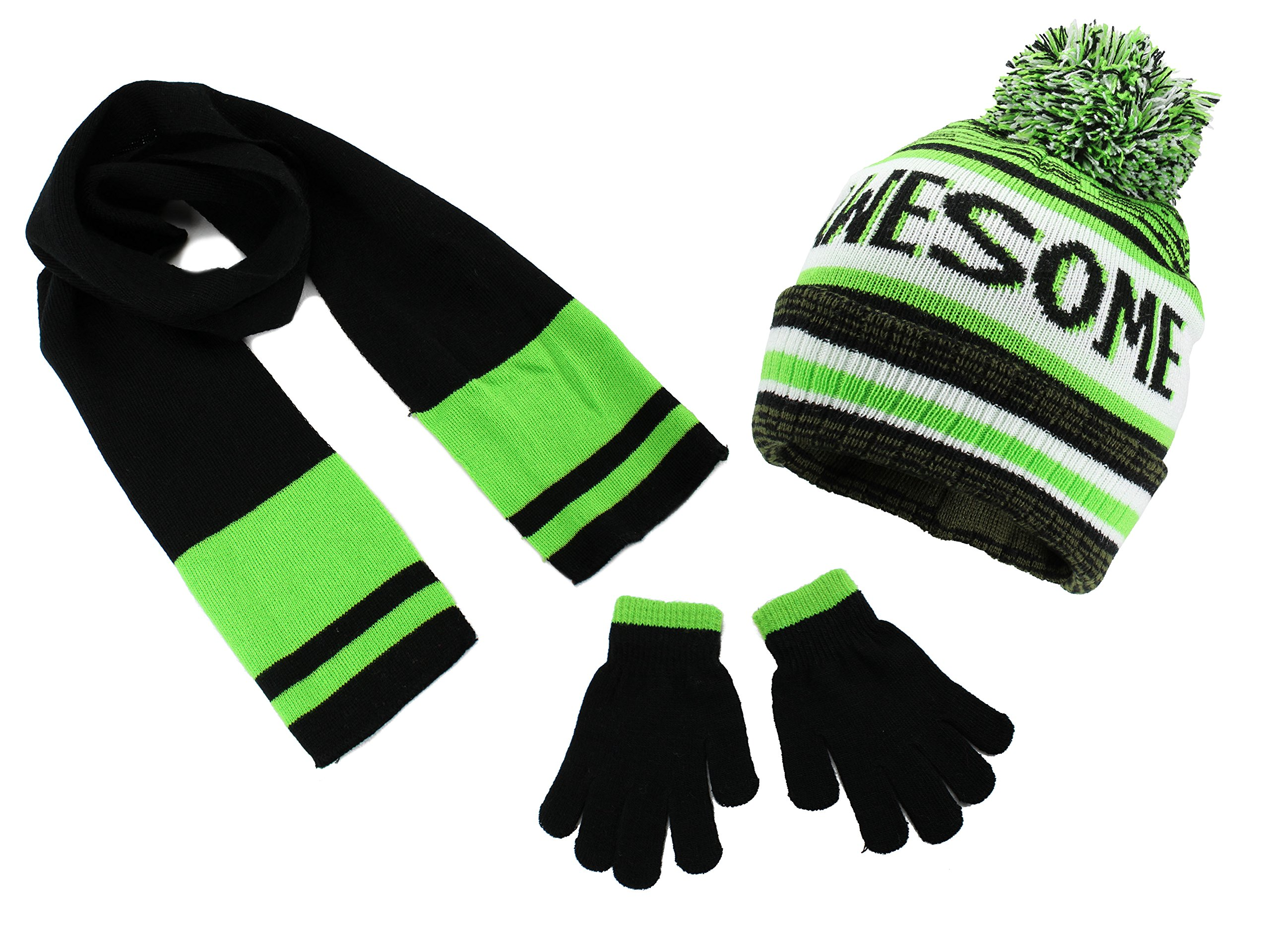 Polar Wear Boys Knit Hat, Scarf And Gloves Set with Words- Lime/Black