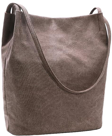 4467964c1df0 Amazon.com  Iswee Canvas Womens Bucket Bag Shoulder Handbags Hobo Ladies  Purses Fashion Tote Purse (Coffee)  Shoes