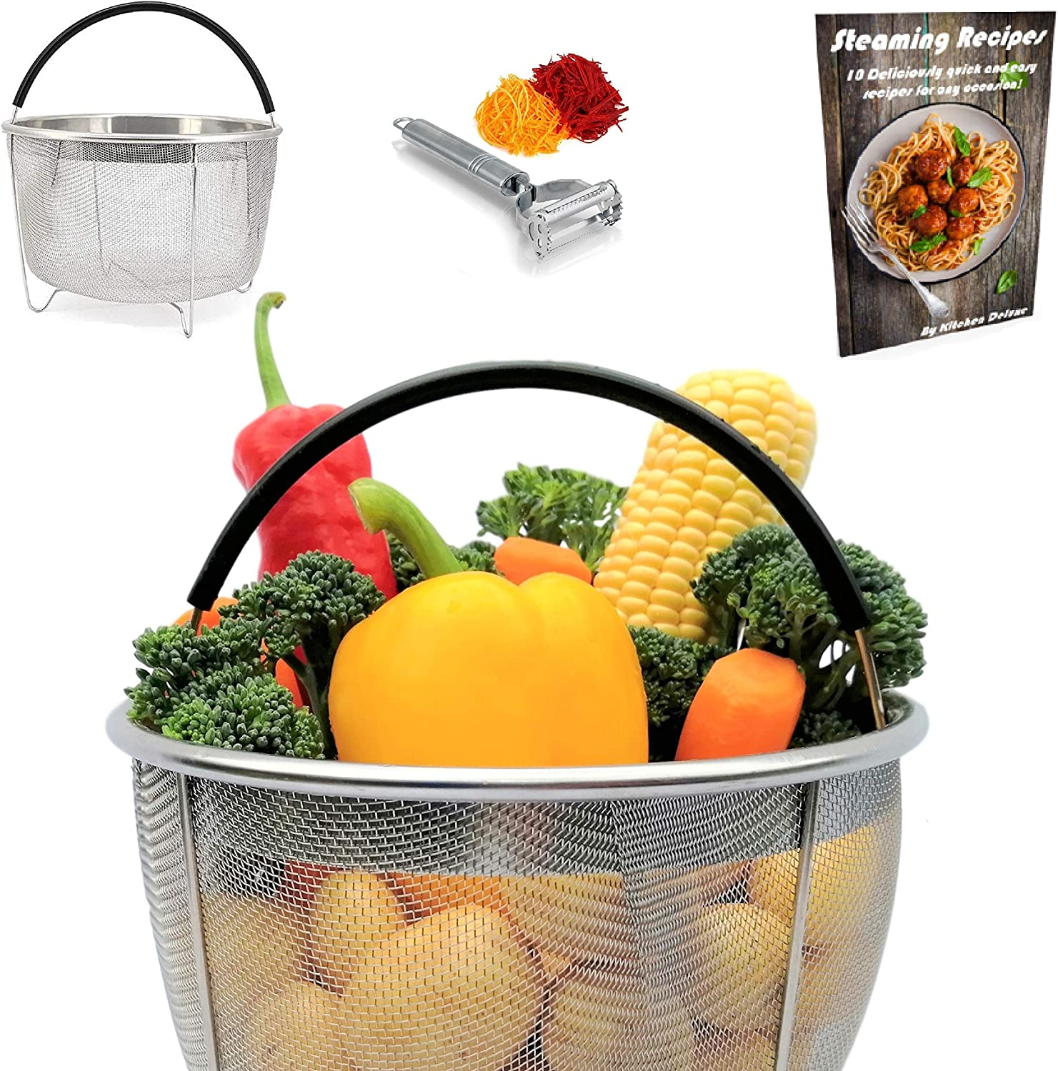 Kitchen Deluxe Vegetable Steamer Basket - Fits Instant Pot Pressure Cooker 6 Qt & 8 Quart - 100% Stainless Steel - Accessories Include Safety Tool + Julienne Peeler + eBook - For Instapot