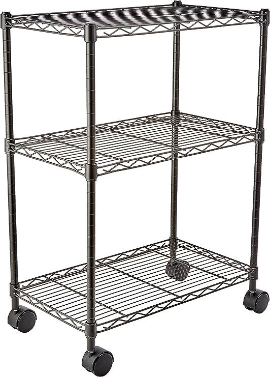 Stand Bad Küche Regal Rollwagen Wohnzimmer Steckregal Metall Silber Schwarz NEU