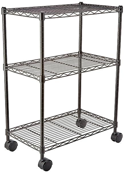 AmazonBasics 3 Shelf Shelving Unit On Wheels Black