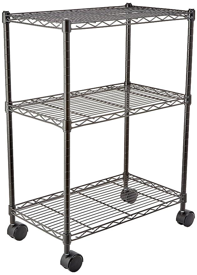 AmazonBasics - Estantería de 3 baldas, con ruedas - Negro: Amazon.es: Hogar