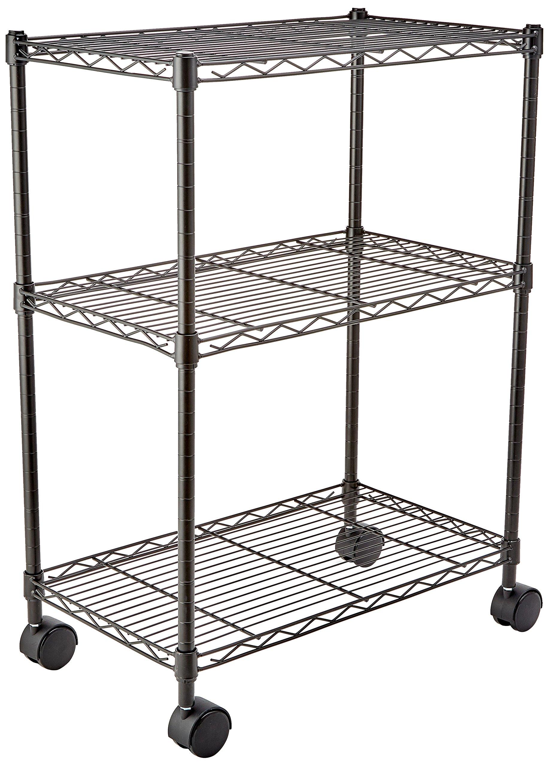 AmazonBasics 3-Shelf Shelving Unit on Wheels - Black by AmazonBasics