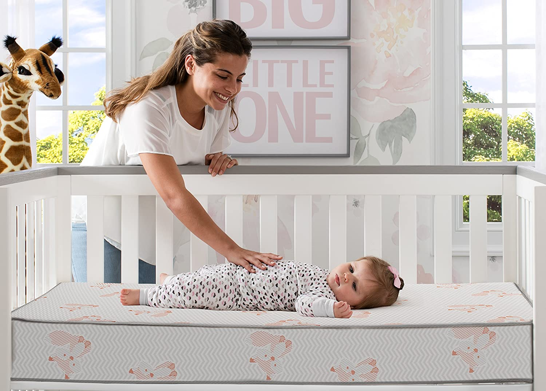 BeautySleep Woodland Dreams with Air Sleep Comfort Fiber Core Crib and Toddler Mattress GREENGUARD Gold Certified Waterproof| Lightweight Fox Natural//Non-Toxic