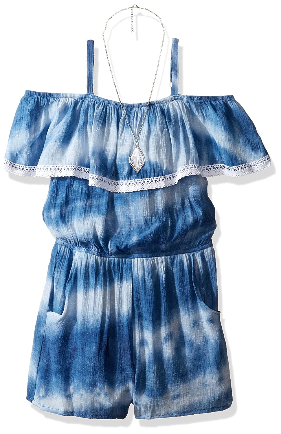 4acb788bd6d7 Amy Byer Big Girls  Off The Shoulder Ruffle Romper with Pockets