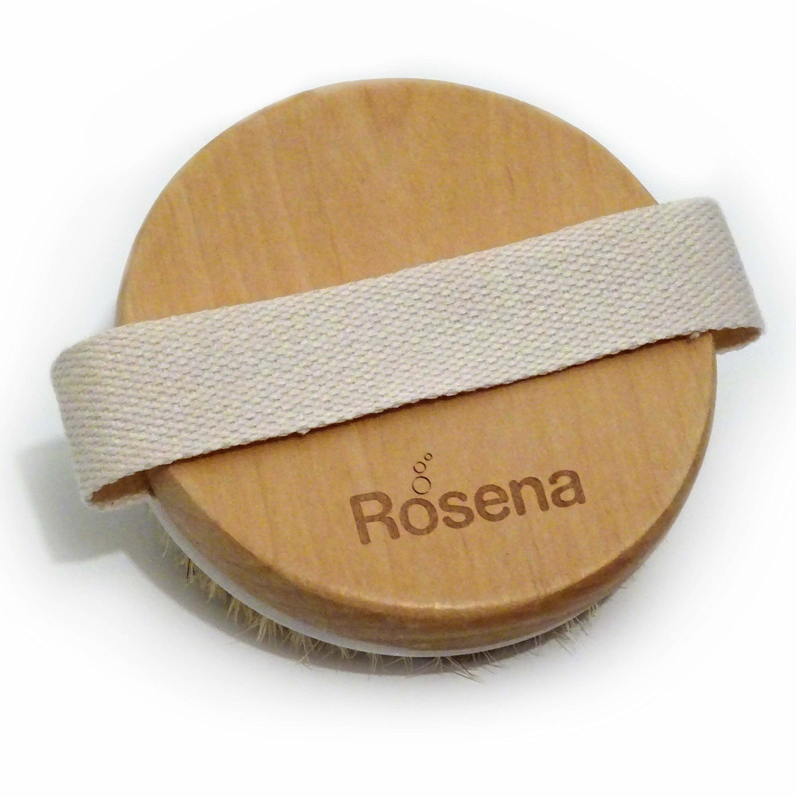 Dry Brushing Body Brush - Best for Exfoliating Dry Skin, Lymphatic Drainage and Cellulite Treatment - Organic Spa Exfoliation and Massage Scrub Brush with Natural Boar Bristles by Rosena (Image #2)