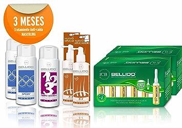 Set Pack tratamiento anticaida hombre 3 meses, Laboratorios Bellido 50 aniversario estimula el crecimiento del cabello ...
