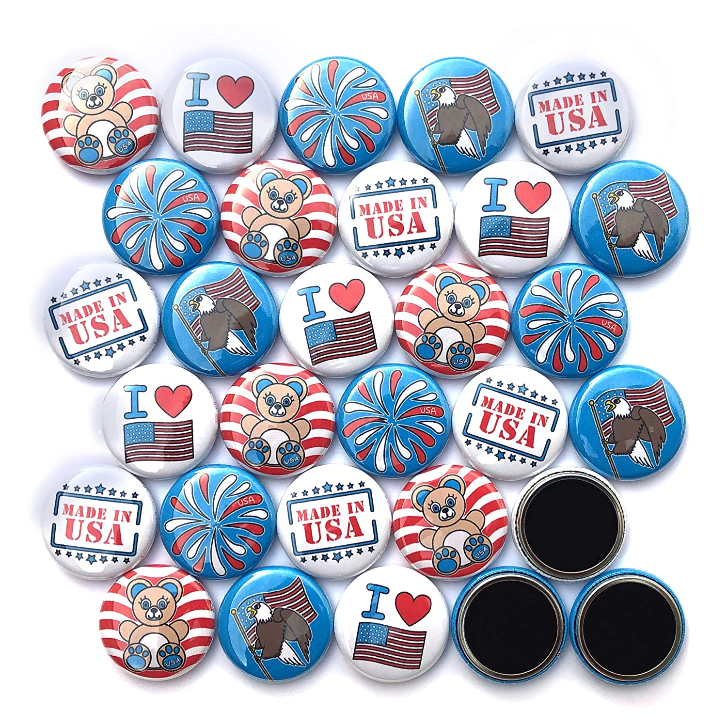 """Patriotic Mini Buttons - MADE IN USA. (1"""" Magnets, 30 Piece Set)"""