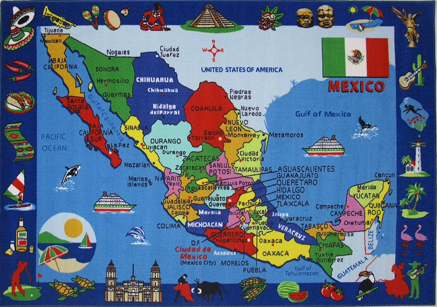 Amazon fun rugs map of mexico 8 feet x 11 feet kitchen dining gumiabroncs Gallery
