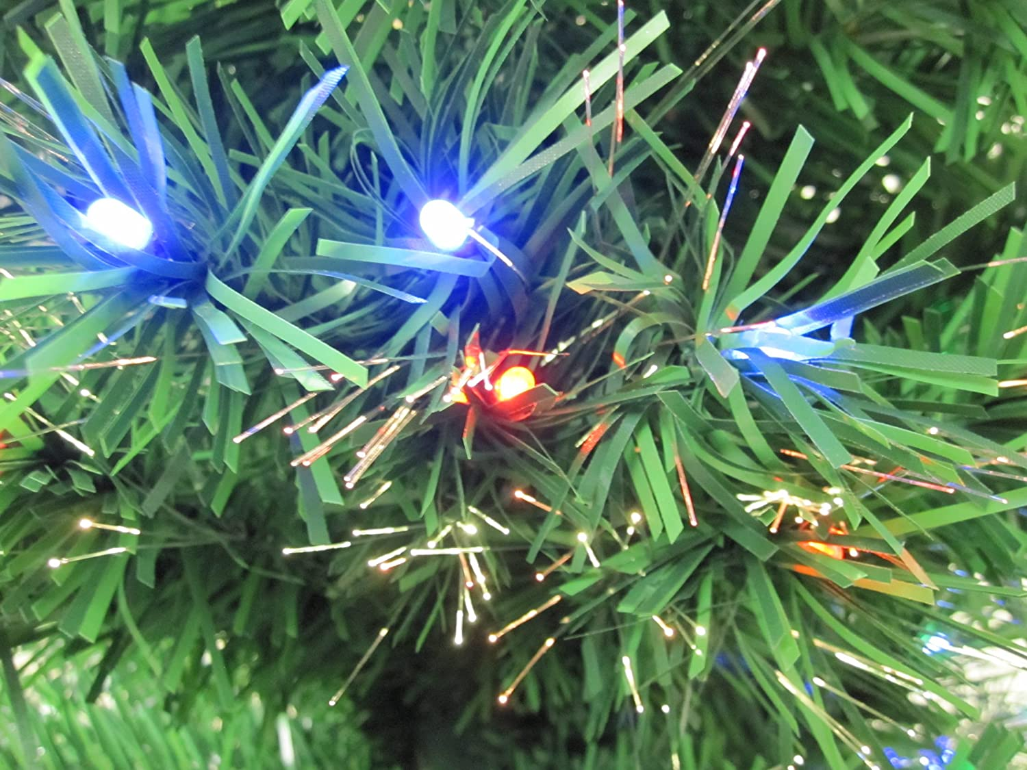 5.5 Foot Prelit Green Artificial Fiber Optic Christmas Tree + Multi ...