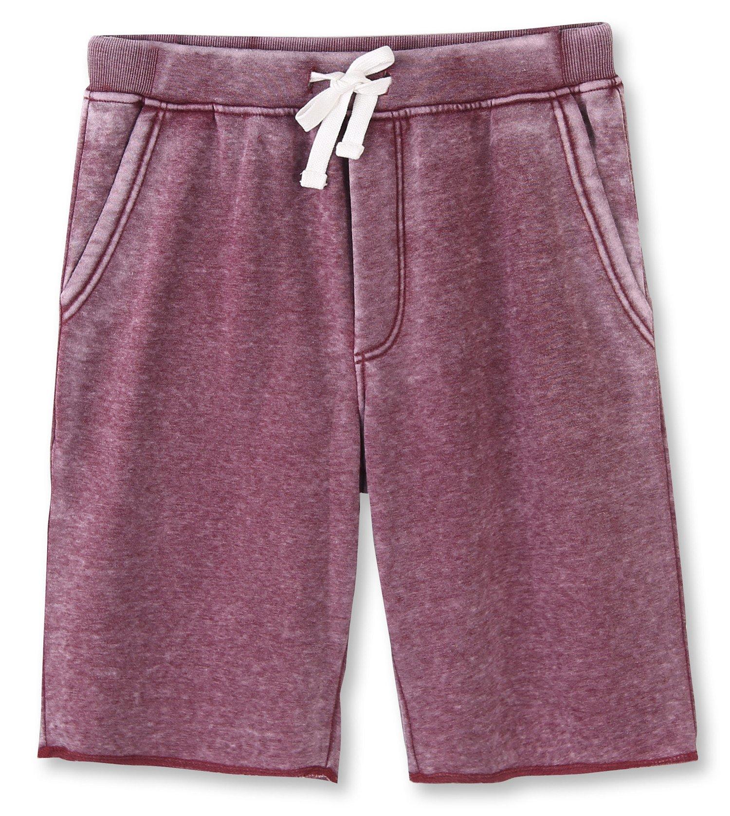 HETHCODE Men's Casual Classic Fit Cotton Elastic Fleece Jogger Gym Shorts Burnout Wine L