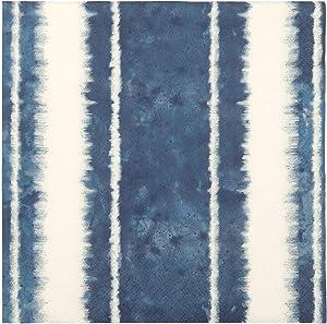 "Party Napkins Paper Napkins Disposable Shibori Print Beach Decor Coastal Decor Striped Blue Napkins 6.5"" x 6.5"" Pak 40"