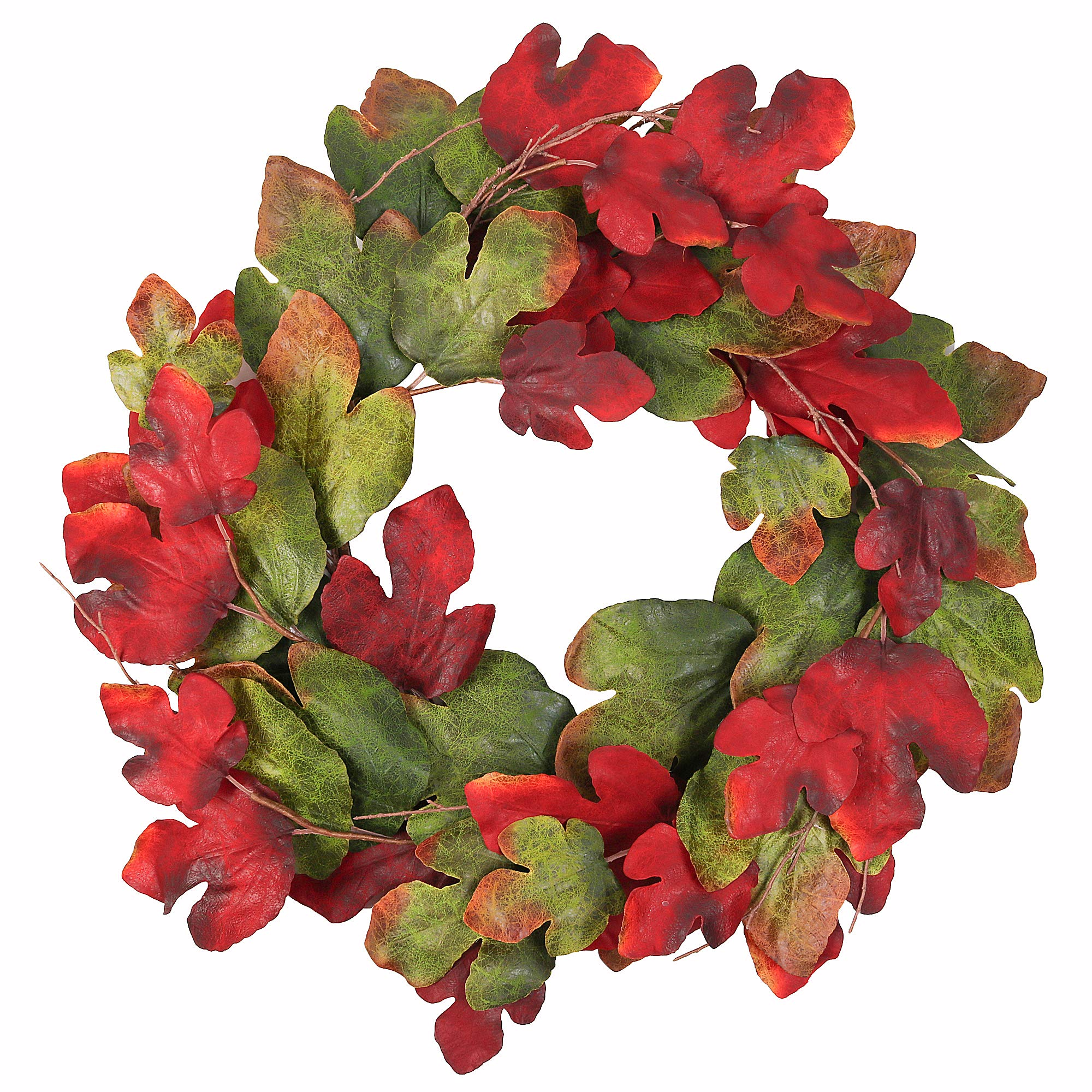 Wreath Maple Leaves Garland Artificial Round Front Door Wall Window Decoration Rich Colors Home Deco 33 Inches Dark Green by Cloris Art