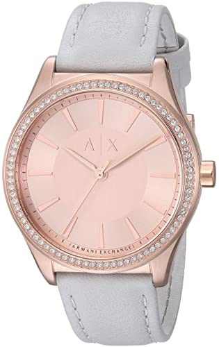 Amazon.com: Armani Exchange Womens AX5444 Rose Gold Grey Leather Watch: Watches
