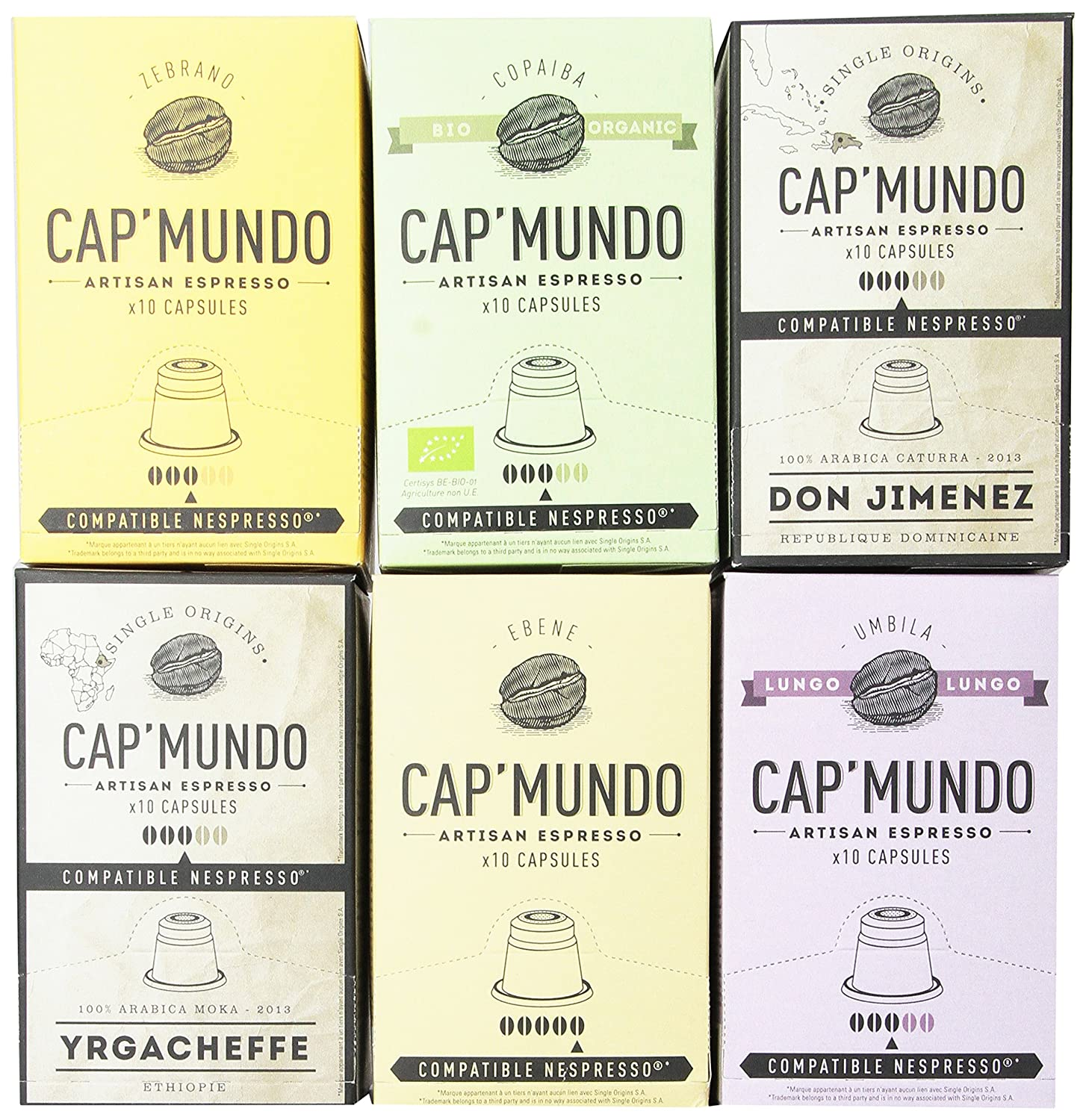 Cap Mundo Single-Cup Coffee for Nespresso Brewers, Variety Pack, 60 Count: Amazon.com: Grocery & Gourmet Food