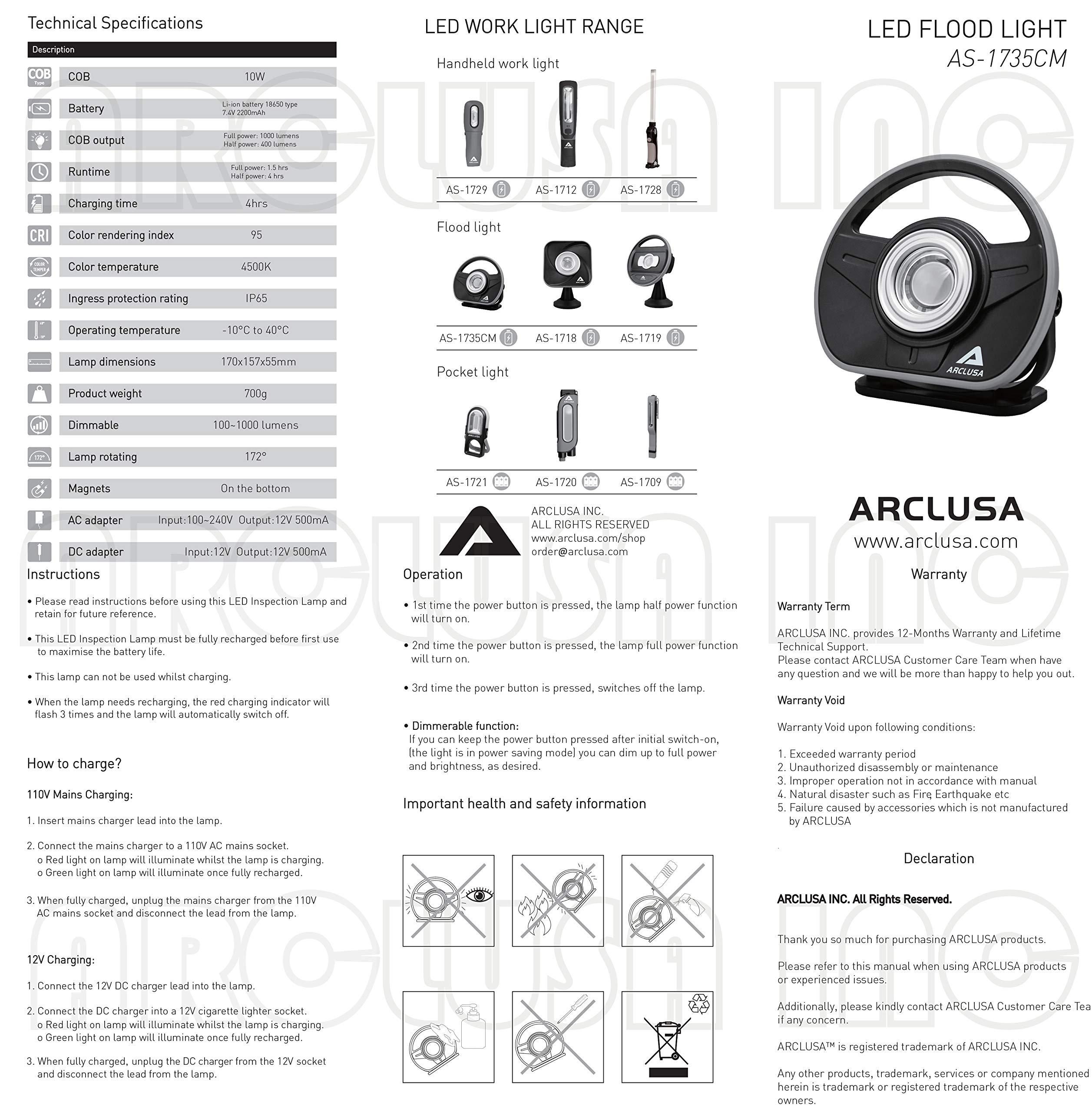 Arclusa COB LED Rechargeable Sunlight Color Match Paint Work Light Adjustable Holder Magnet Bottom Flood Light(1000 Lumen Color Match) by Arclusa (Image #7)
