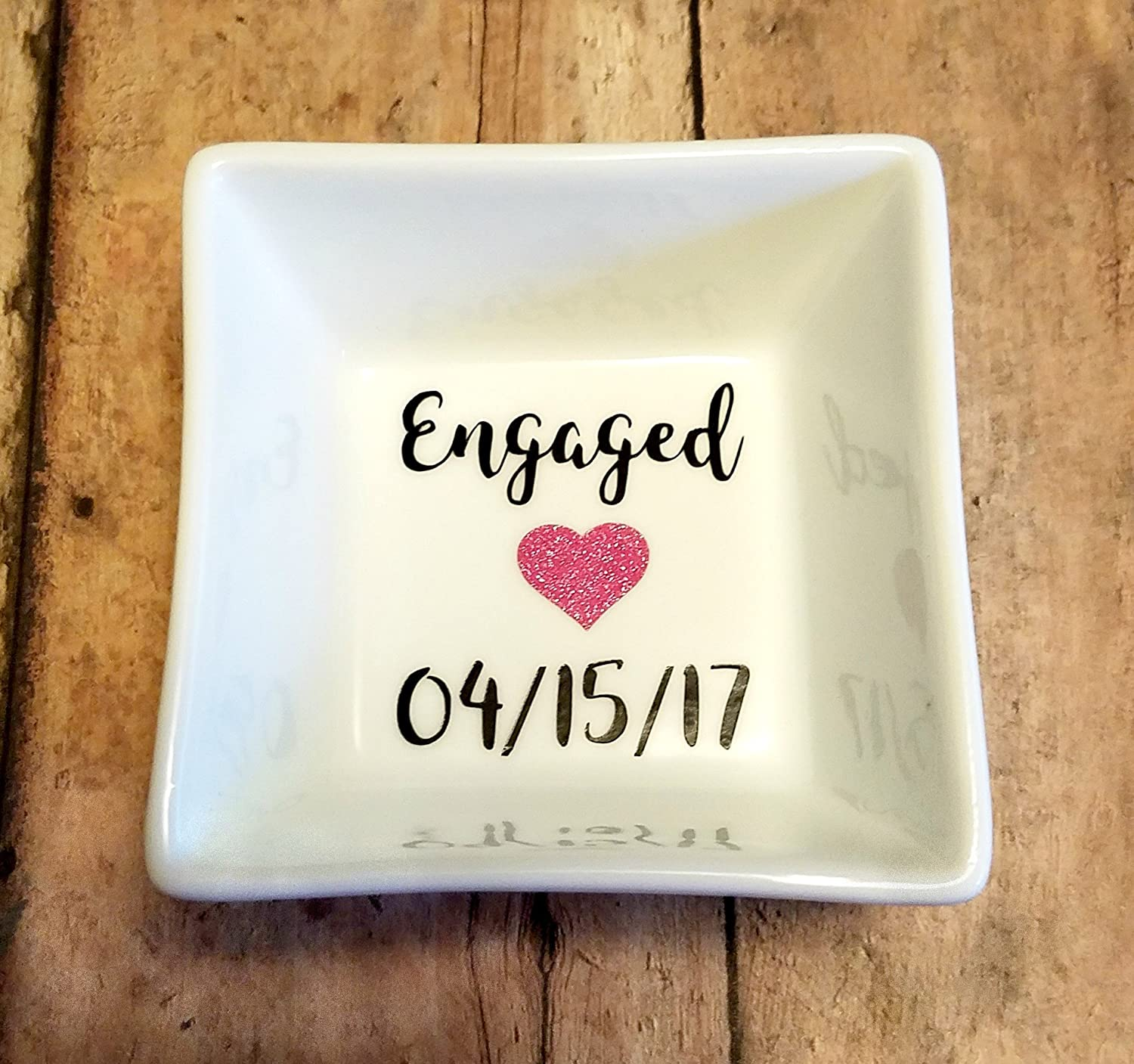 Engaged Jewelry Dish / Ring Dish with Date and Heart