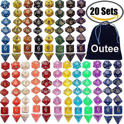 Outee 140 Pcs Polyédicale Dragons D&D Dice Jeux De Role Donjons et, 20 Ensembles complets de d20, d12, 2 d10 (00-90 et 0-9), d8, d6 et d4 pour DND MTG RPG Dungeons and Dragons Dice Game, Inclut 1 Big Pouch, Multipl