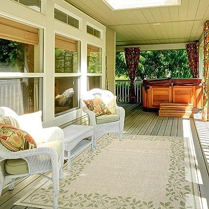 Gertmenian 21356 Nautical Tropical Carpet Outdoor Patio Rug, 5x7 Standard,  Floral Tan