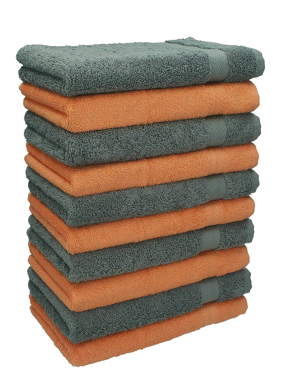 BETZ Paquete de 10 Piezas de Toallas para Invitados Juego de Toalla de Lavabo 100/% algod/ón tama/ño 30x50 cm Toalla de Mano Premium de Color Naranja y Gris Antracita