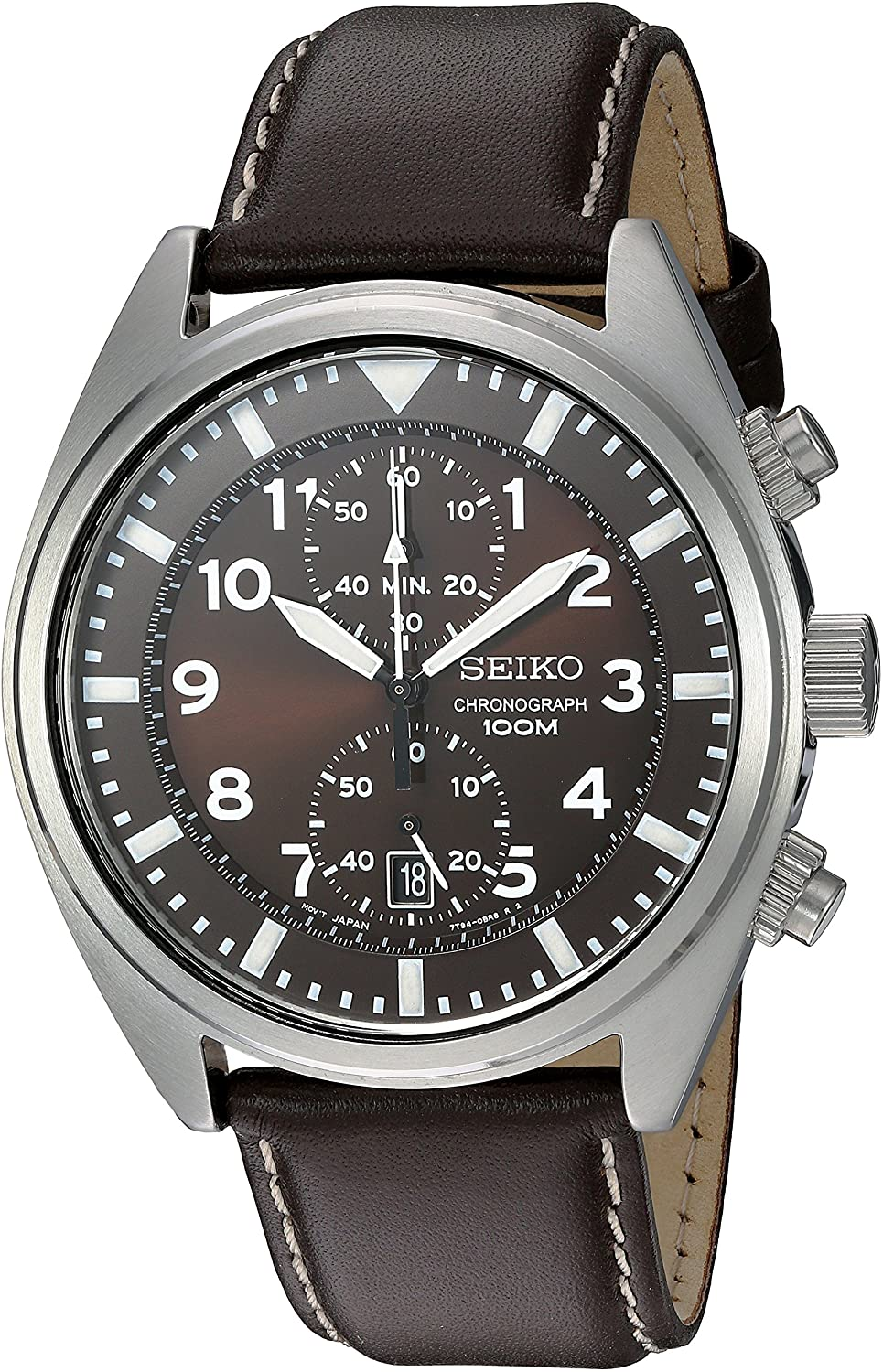 Seiko Men s SNN241 Stainless Steel Watch with Brown Leather Band