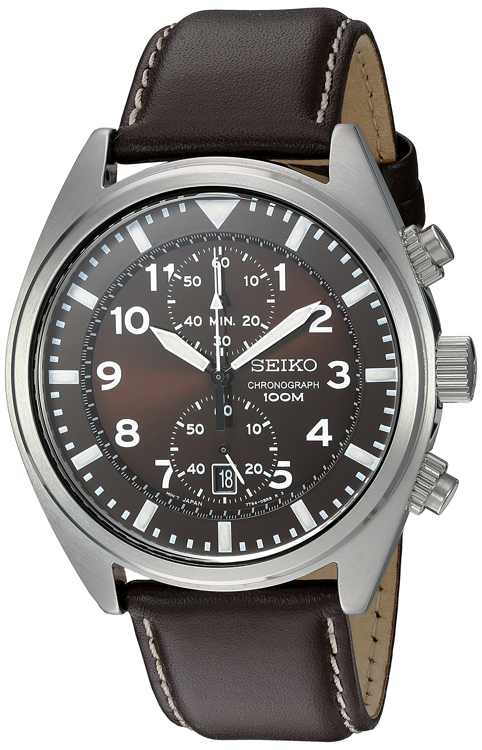 Seiko Men's SNN241 Stainless Steel Watch with Brown Leather Band by SEIKO
