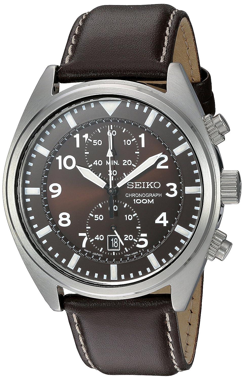 seiko men s snn241 stainless steel watch brown leather band seiko men s snn241 stainless steel watch brown leather band amazon co uk watches