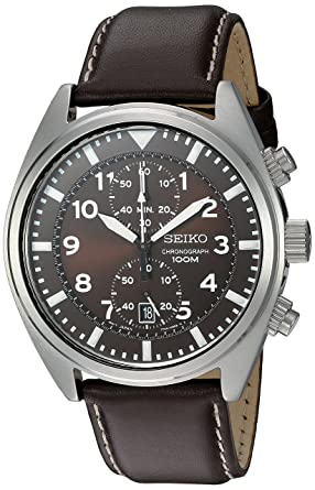 Amazon.com  Seiko Men s SNN241 Stainless Steel Watch with Brown ... bf57d33ec35a