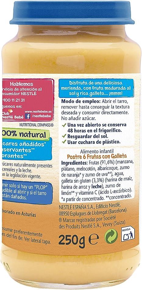 Nestlé Naturnes - Postres de 6 Frutas con Galleta - 250 g - , Pack de 6