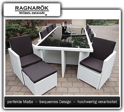 Wicker Eettafel Set Met 8 Stoelen En 4 Krukken Zwart.Ragnarok Mobeldesign Polyrotan Eettafel Duits Merk Eigen